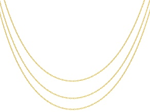 10k Yellow Gold Rope Chain Necklace 18, 20, And 24 Inch Chain Set Of 3