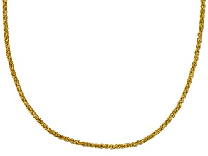 10k Yellow Gold Round Wheat Link Chain Necklace 18 inch