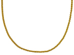 10k Yellow Gold Round Wheat Link Chain Necklace