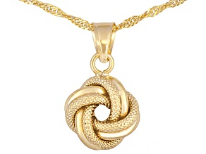 10k Yellow Gold Polished Textured Love Knot Pendant With 18 inch Chain Made in Italy