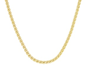 10k Yellow Gold Hollow Flat Wheat Link Chain Necklace 24 inch 2mm