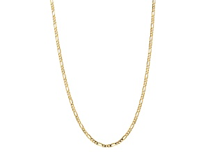 10k Yellow Gold 4mm Concave Figaro Chain 24 inches