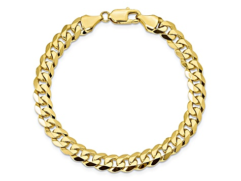 10k Yellow Gold 8.25mm Flat Beveled Curb Bracelet 9 inches