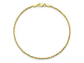 10k Yellow Gold 1.75mm Diamond Cut Rope Bracelet 8 inches