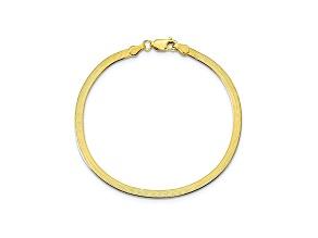 10k Yellow Gold 3mm Silky Herringbone Bracelet 7 inches