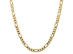 10k Yellow Gold 7.5mm Concave Figaro Chain 24 inches