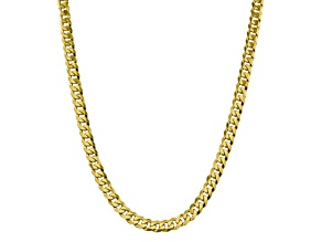 10K YELLOW GOLD 8.25MM FLAT BEVELED CURB CHAIN 24 INCHES