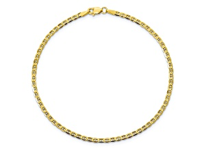10k Yellow Gold 2.4mm Flat Anchor Bracelet 7 inches