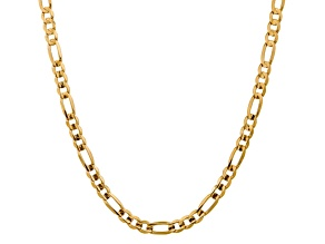 10k Yellow Gold 7.5mm Concave Figaro Chain 22 inches