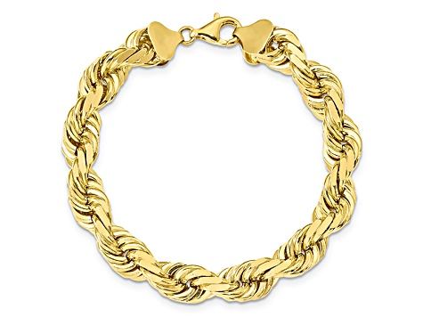 10k Yellow Gold 8.25mm Flat Beveled Curb Chain Anklet