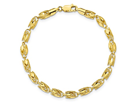 10k Yellow Gold 4mm Marquise Bracelet 8 inches
