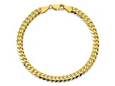 10k Yellow Gold 5.75mm Flat Beveled Curb Bracelet 8 inches