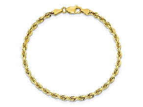 10k Yellow Gold 3.35mm Diamond-Cut Quadruple Rope Bracelet 7 inches