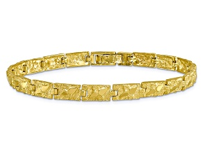10k Yellow Gold 6mm Nugget Bracelet 7 inches