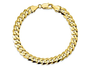 10k Yellow Gold 8.25mm Flat Beveled Curb Bracelet 8 inches