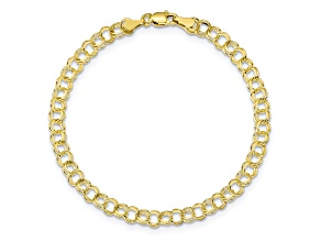 10k Yellow Gold Solid Double Link Charm Bracelet 7 inches