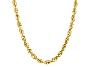 10k Yellow Gold 10mm Handmade Diamond-Cut Rope Chain 22 inches