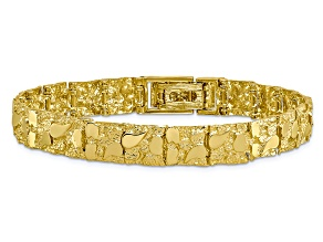 10k Yellow Gold 10mm Nugget Bracelet 7 inches