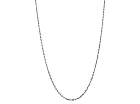 10k White Gold 3.35mm Diamond-Cut Quadruple Rope Chain 24 inches