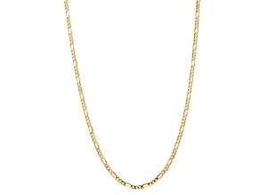 10k Yellow Gold 4mm Concave Figaro Chain 18 inches