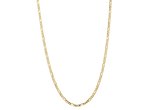 10k Yellow Gold 4mm Concave Figaro Chain 20 inches