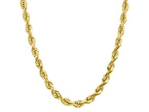 10k Yellow Gold 10mm Handmade Diamond-Cut Rope Chain 24 inches