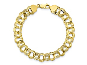 10k Yellow Gold Triple Link Charm Bracelet 8 inches