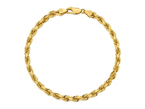 10k Yellow Gold 5mm Diamond Cut Rope Bracelet 8 inches