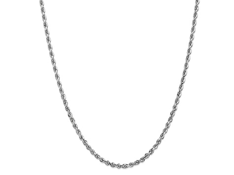 10k White Gold 3.35mm Diamond-Cut Quadruple Rope Chain 30 inches
