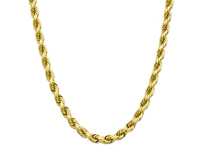 10K YELLOW GOLD 8MM HANDMADE DIAMOND-CUT ROPE CHAIN 24 INCHES