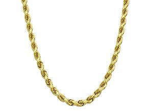 10K YELLOW GOLD 8MM HANDMADE DIAMOND-CUT ROPE CHAIN 24 INCHES