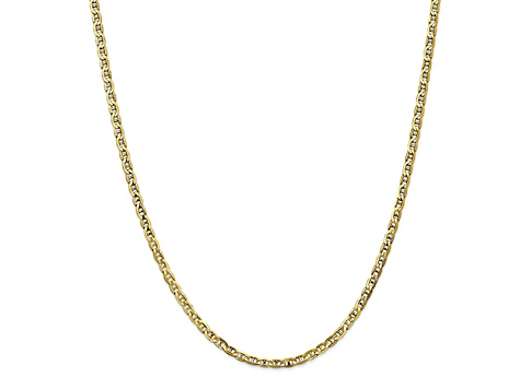 10k Yellow Gold 3mm Concave Mariner Chain 24 inch