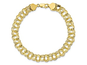 10k Yellow Gold Triple Link Charm Bracelet 7 inches