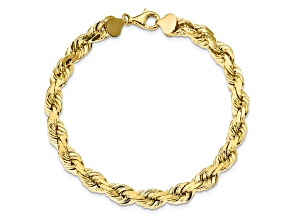 10k Yellow Gold 8mm Handmade Diamond-Cut Rope Bracelet 9 inches