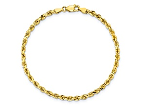 10k Yellow Gold 3.5mm Diamond Cut Rope Bracelet 8 inches