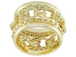10k Yellow Gold Hollow Multi-Link Band Ring