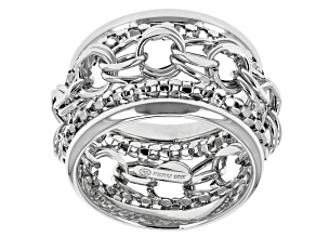 10k White Gold Hollow Multi-Link Band Ring