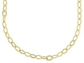 10k Yellow Gold Hollow Oval Rolo Link Chain Necklace 24 inch
