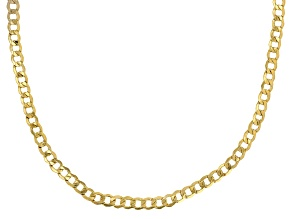 10k Yellow Gold Hollow Curb Link Necklace 20 inch 4mm