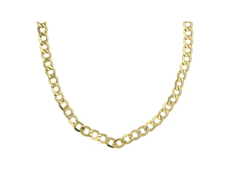 10k Yellow Gold Hollow Curb Link Chain Necklace 18 inch 4mm