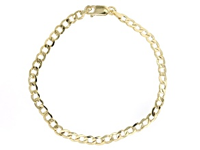 10k Yellow Gold Hollow Curb Link Bracelet 7.5 inch 4mm
