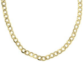 10k Yellow Gold Hollow Curb Link Chain Necklace 24 inch 4mm