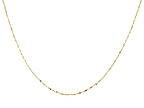 10k Yellow Gold Singapore Link Sliding Adjustable Chain Necklace 20 inch