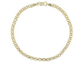 10k Yellow Gold Hollow Bismark Bracelet 7.5 inch 3mm