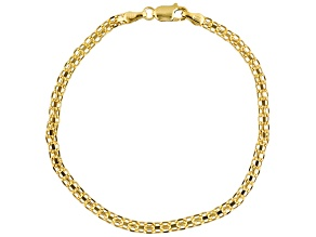 10k Yellow Gold Hollow Bismark Link Bracelet