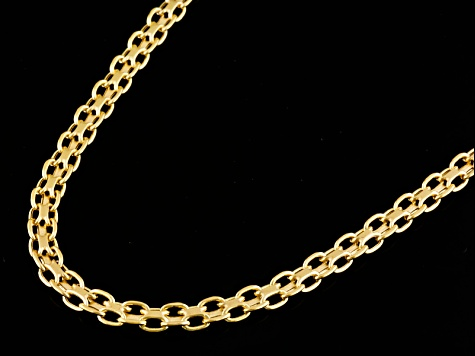 10k Yellow Gold Hollow Bismark Link Chain Necklace 20 inch