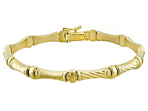 10k Yellow Gold Hollow Bamboo Link Bracelet 7.5 inch