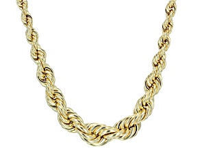 10k Yellow Gold Hollow Graduated Rope Link Necklace