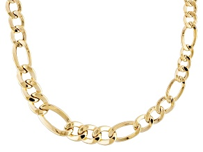 14k Yellow Gold Hollow Figaro Link Necklace
