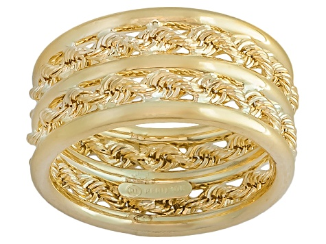 10k Yellow Gold Hollow Rope Link Band Ring